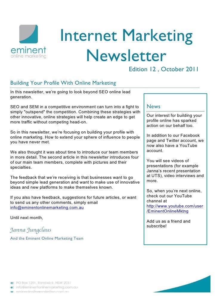 Internet Marketing Newsletter October 2011