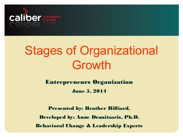 Leadership systems that create powerful companies Stages of Organizational Growth Entrepreneurs Organization June 5, 2014 ...