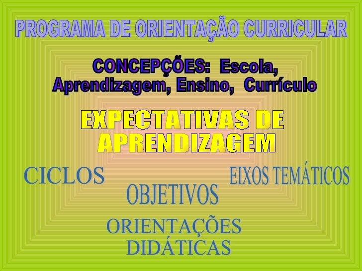 PROGRAMA DE ORIENTAÇÃO CURRICULAR EXPECTATIVAS DE APRENDIZAGEM OBJETIVOS EIXOS TEMÁTICOS ORIENTAÇÕES DIDÁTICAS CONCEPÇÕES:...