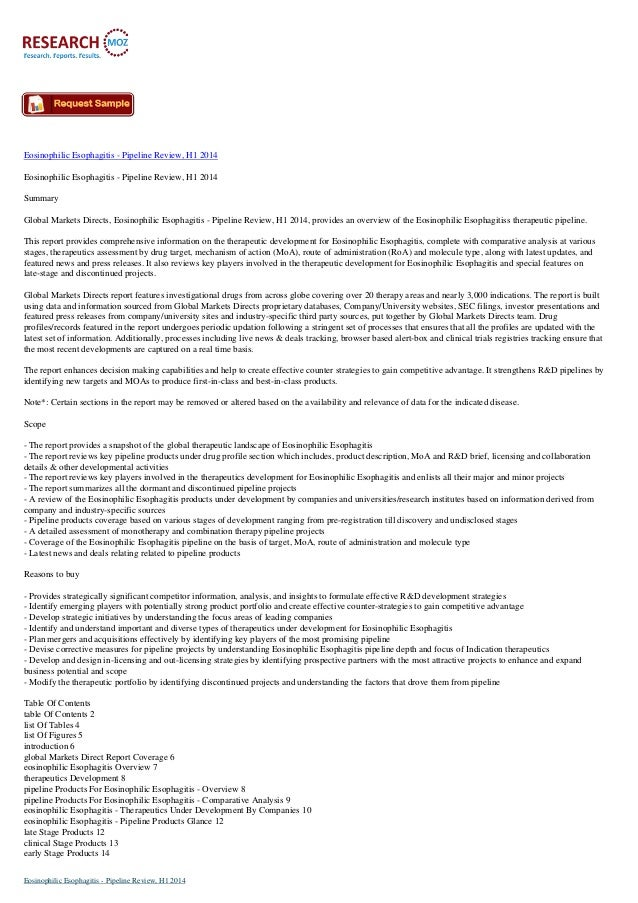 Eosinophilic Esophagitis - Pipeline Review, H1 2014 Eosinophilic Esophagitis - Pipeline Review, H1 2014 Summary Global Mar...