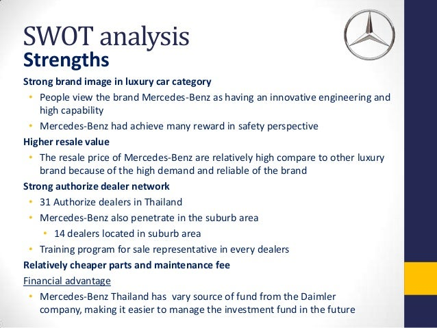 Swot analysis for mercedes benz sa