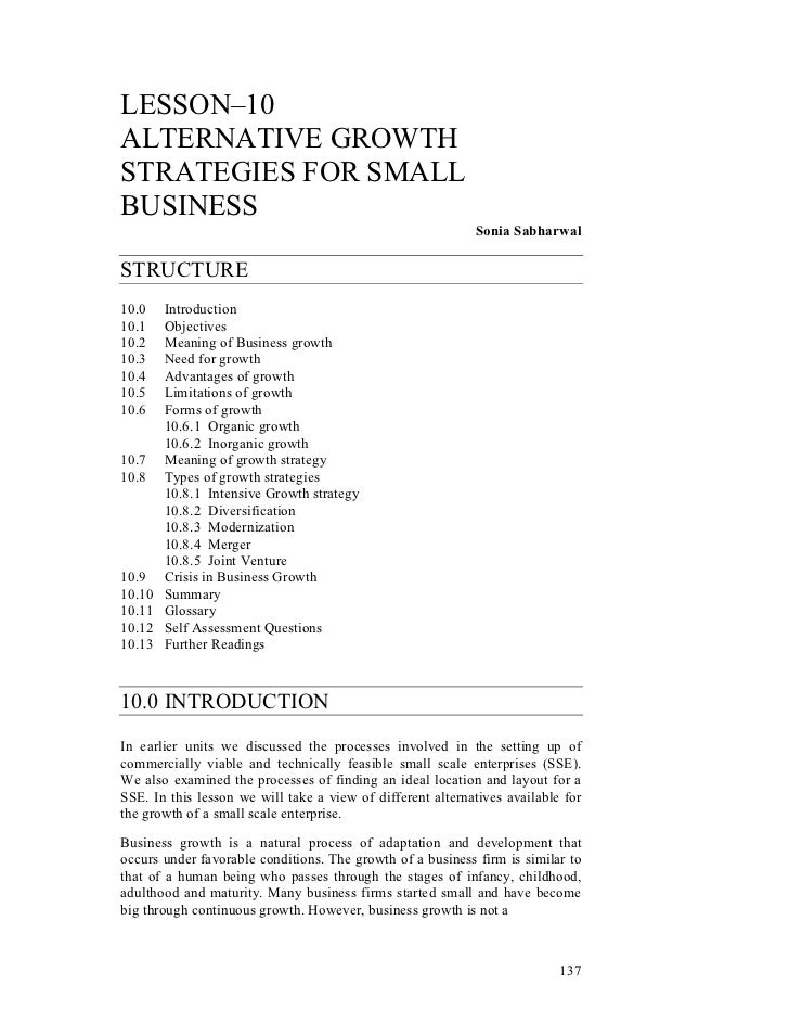 LESSON–10ALTERNATIVE GROWTHSTRATEGIES FOR SMALLBUSINESS                                                            Sonia S...