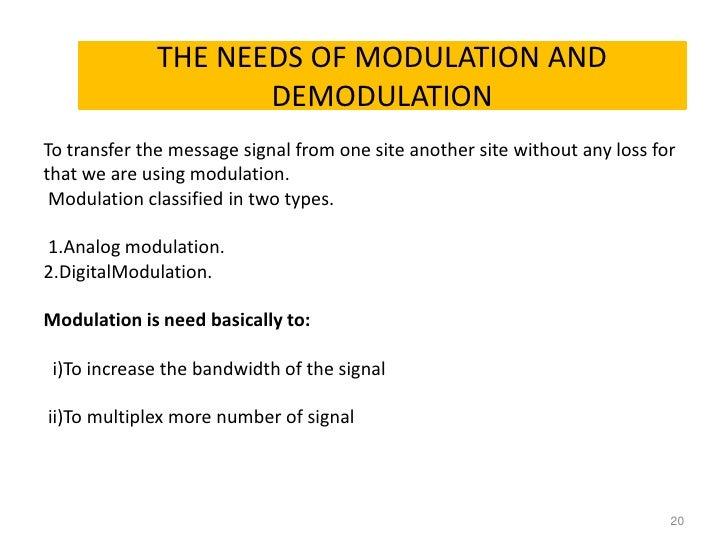 Needs for Modulation
