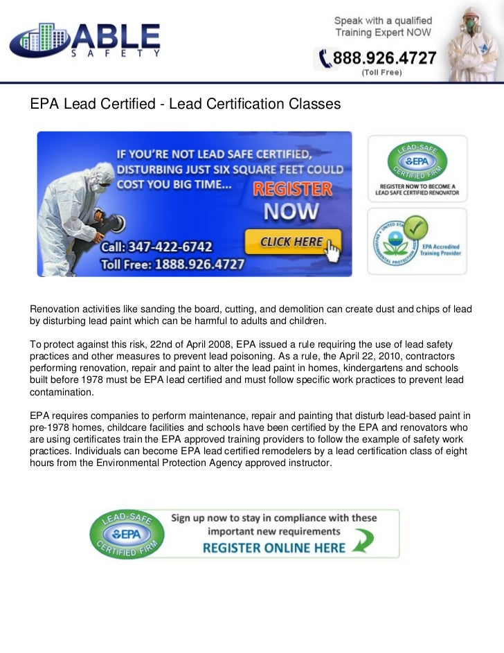 epa lead certification certified slideshare classes
