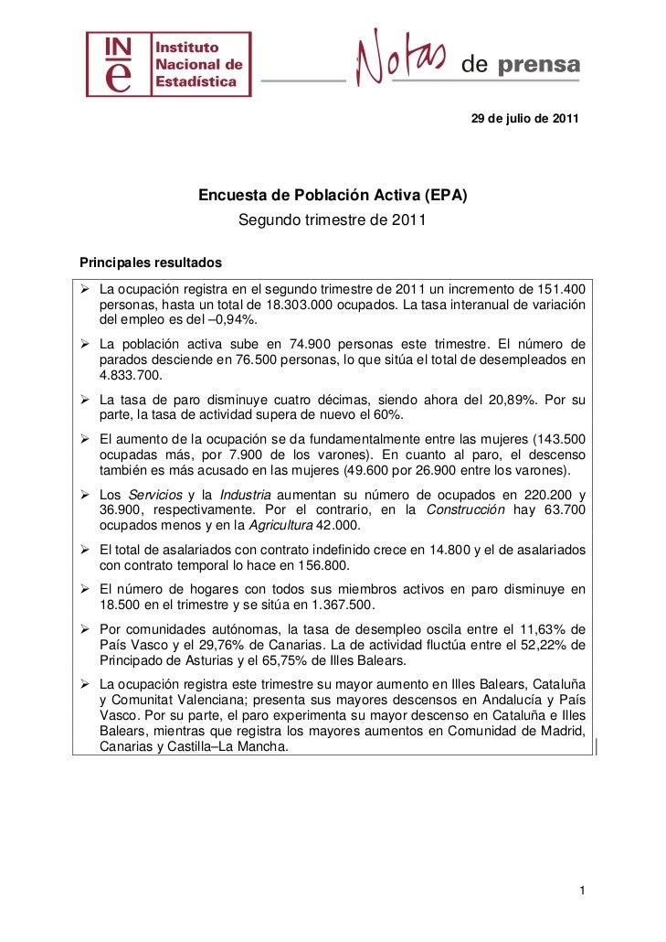 29 de julio de 2011                   Encuesta de Población Activa (EPA)                          Segundo trimestre de 201...