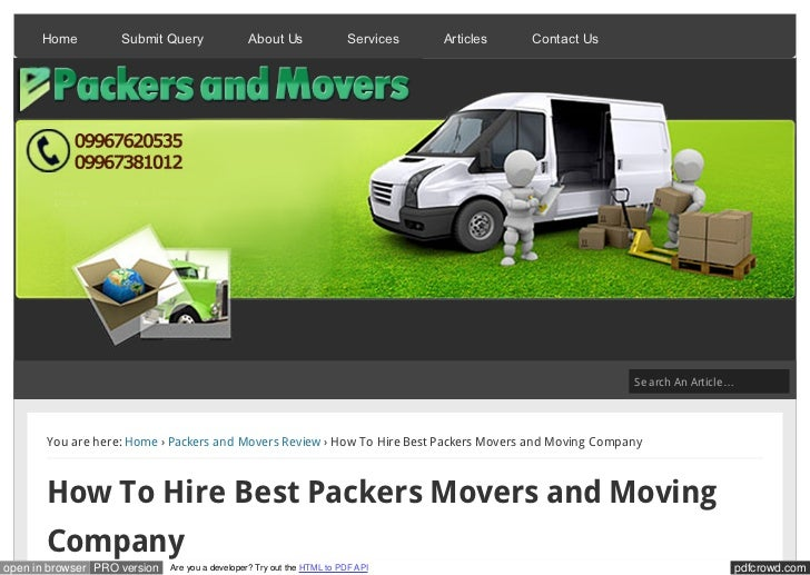 How To Hire Best Packers Movers and Moving Company