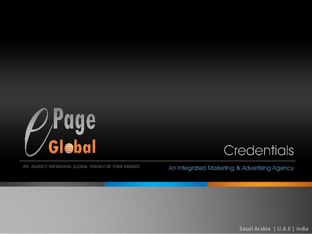 An Internationa Advertising & Marketing Agency- Epage global profile 2014