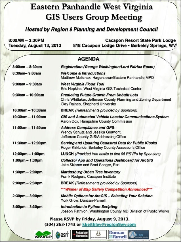 2013 WV Epan GIS Users Group Meeting Agenda