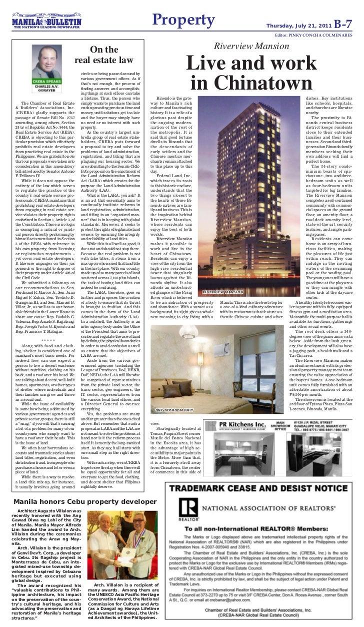 Creba Speaks  @ Manila Bulletin Column
