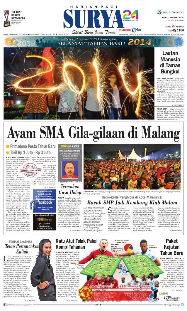 The Best OF Java Newspaper  RABU, 1 JANUARI 2014 NO. 050 TAHUN XXVII  Indonesia Print Media Award (IPMA) 2013  TERBIT  20 ...