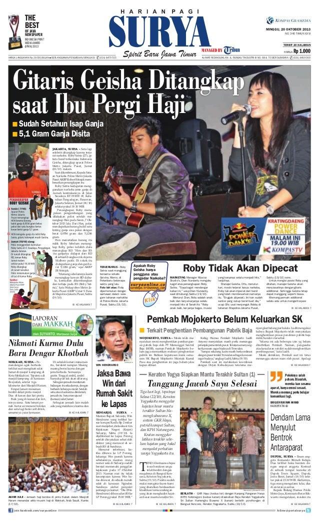 THE BEST  MINGGU, 20 OKTOBER 2013  OF JAVA NEWSPAPER  NO. 340 TAHUN XXVI  INDONESIA PRINT MEDIA AWARD (IPMA) 2013  TERBIT ...