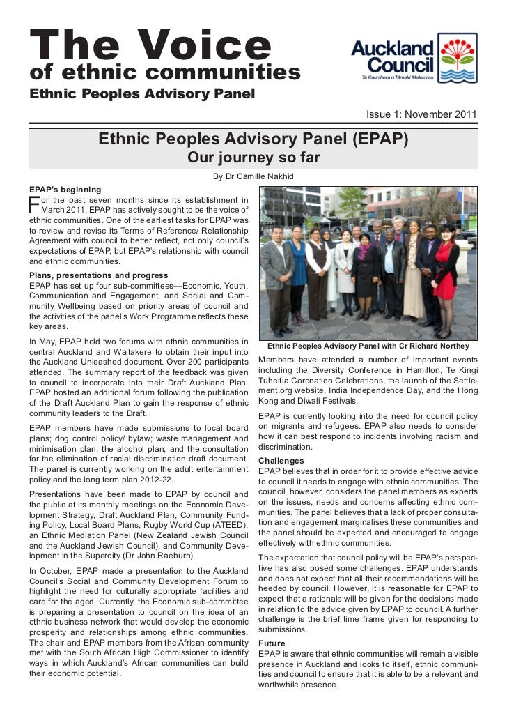 Ethnic Peoples Advisory Panel - Newsletter 2011