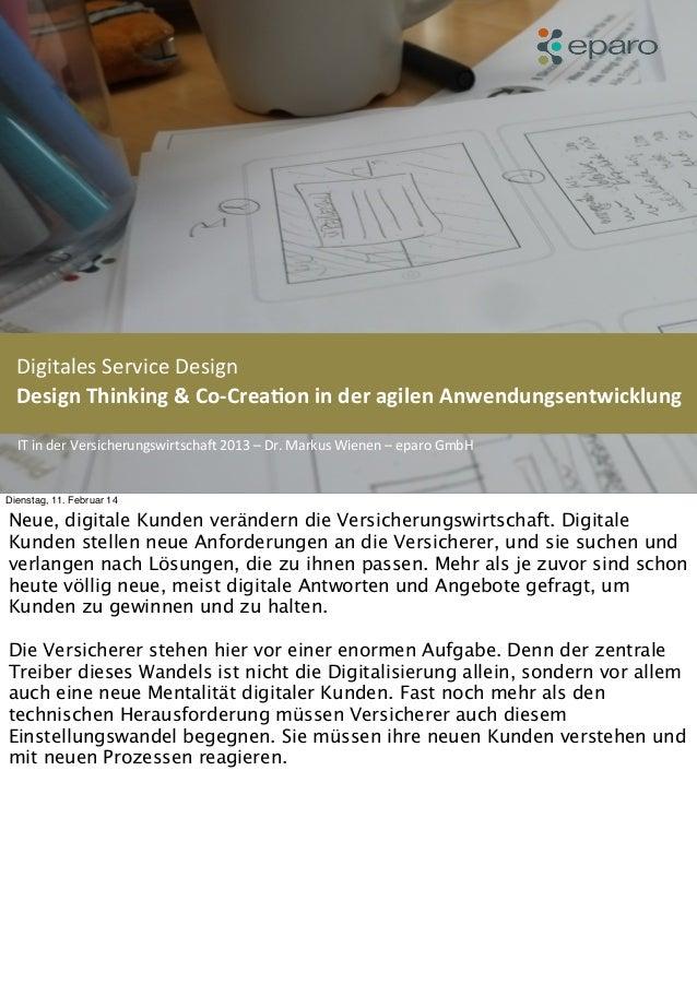 eparo - Digitales Service Design in der agilen Anwendungsentwicklung (Vortrag IT fuer Versicherungsunternehmen 2013 - Markus Wienen)