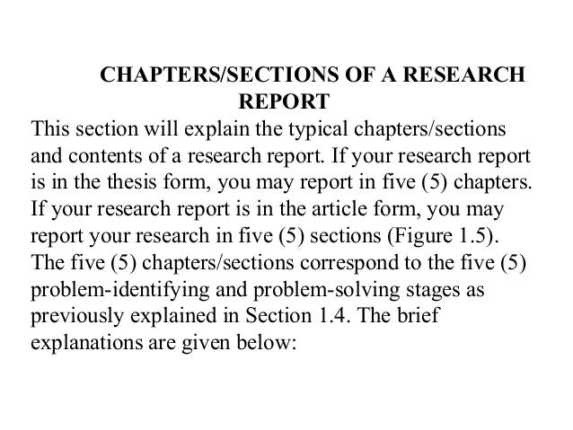 Sections of research report