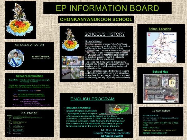 EP INFORMATION BOARD CHONKANYANUKOON SCHOOL