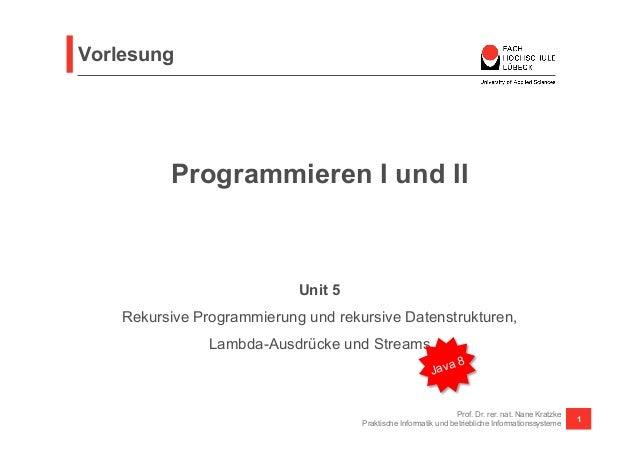 Vorlesung  Programmieren I und II  Prof. Dr. rer. nat. Nane Kratzke  Praktische Informatik und betriebliche Informationssy...