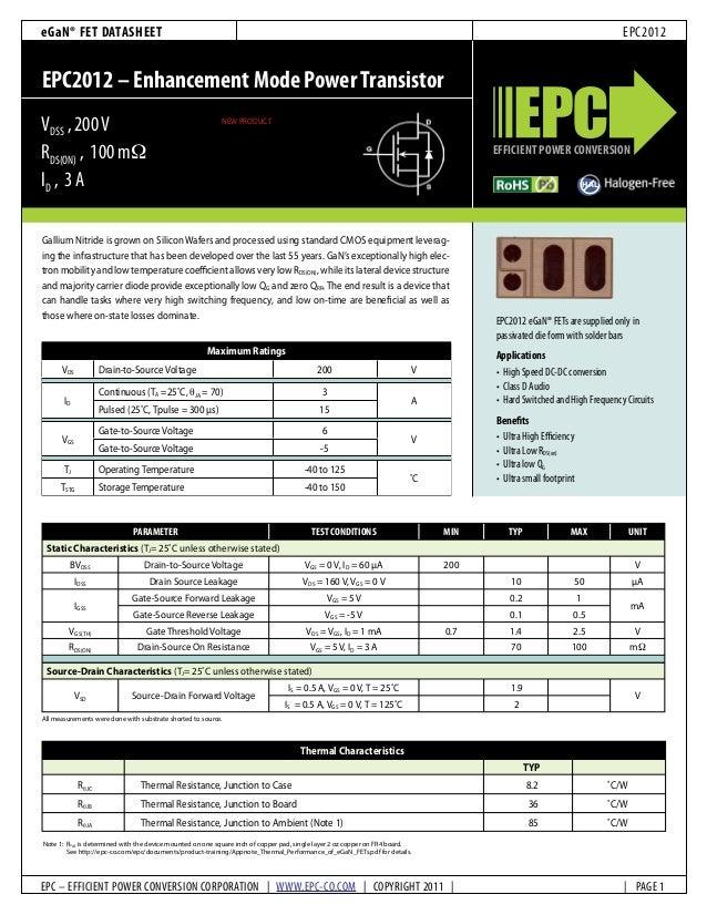 Datasheet of EPC2012