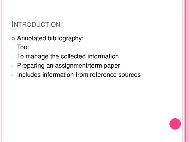 Annotated bibliography introduction