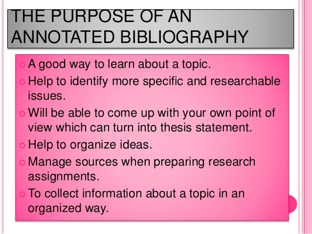 annotated bibliography topic ideas