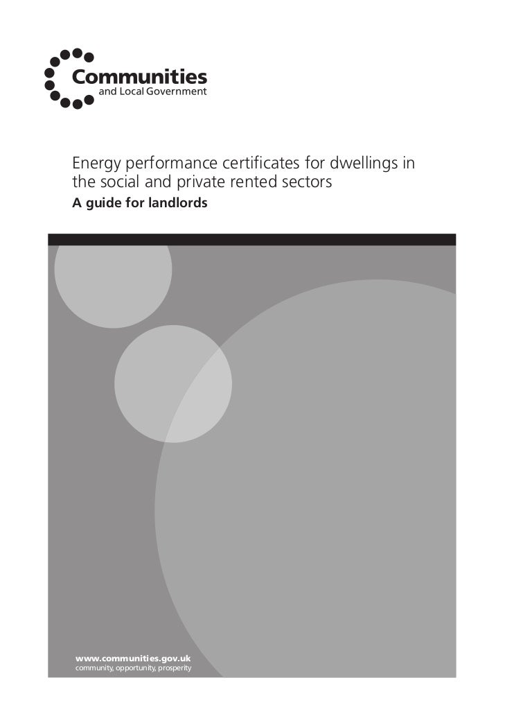 Energy performance certificates for dwellings inthe social and private rented sectorsA guide for landlordswww.communities.g...