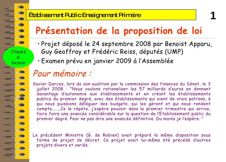 Établissement Public Enseignement Primaire  <ul><li>Projet déposé le 24 septembre 2008 par Benoist Apparu, Guy Geoffroy et...