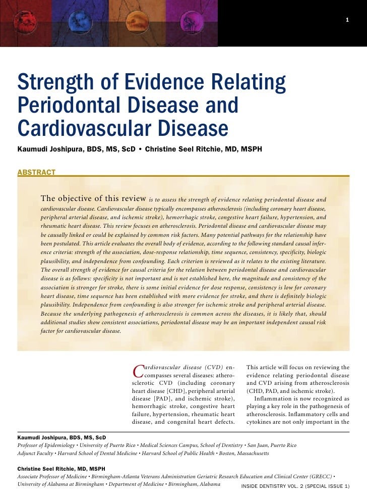 Strength of Evidence Relating Periodontal Disease and Cardiovascular Disease