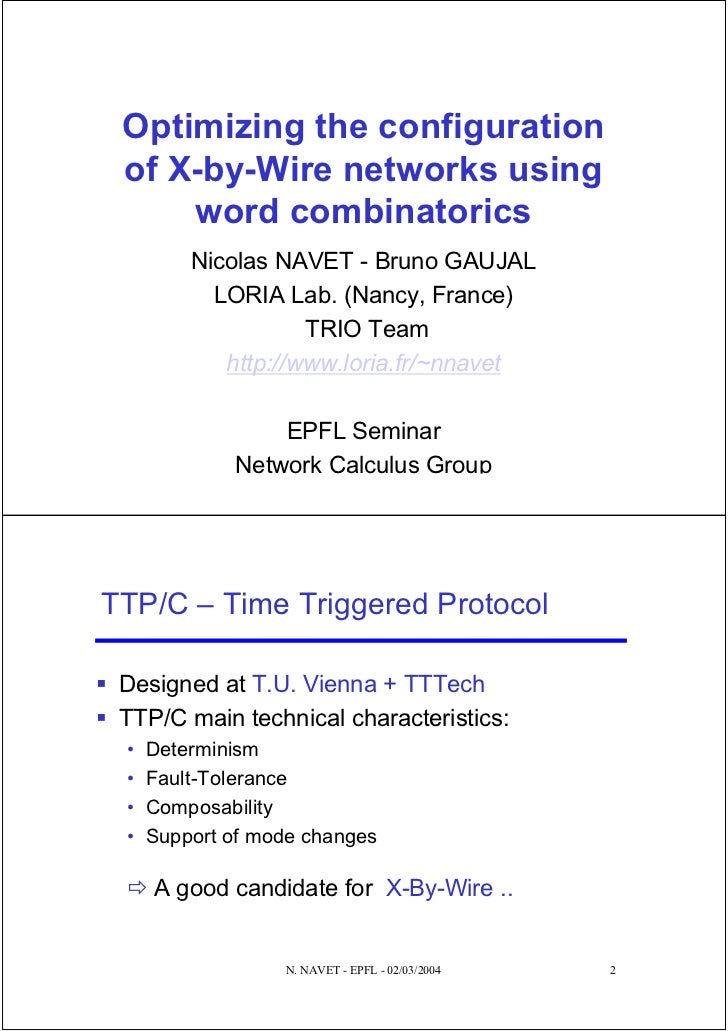 Optimizing the configuration of X-by-Wire networks using     word combinatorics         Nicolas NAVET - Bruno GAUJAL      ...