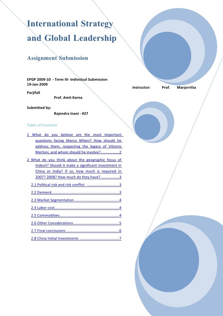 International Strategy and Global Leadership  Assignment Submission   EPGP 2009-10 - Term III- Individual Submission 19-Ja...