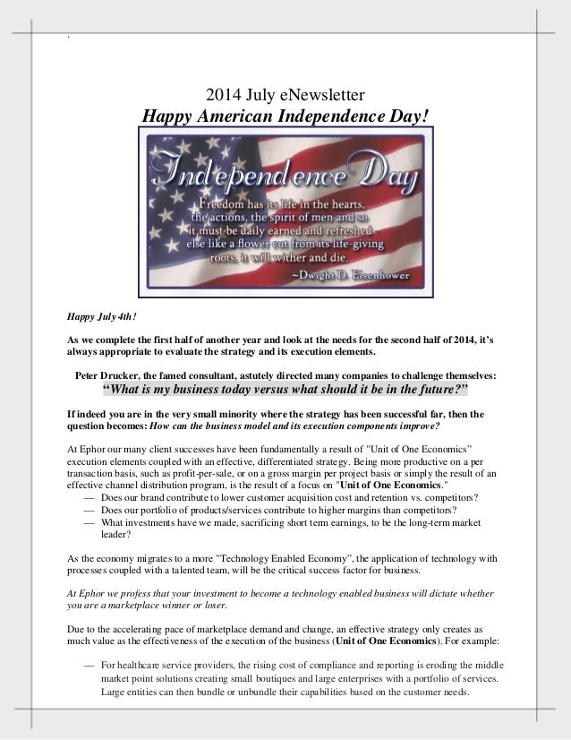 ` 2014 July eNewsletter Happy American Independence Day! Happy July 4th! As we complete the first half of another year an...