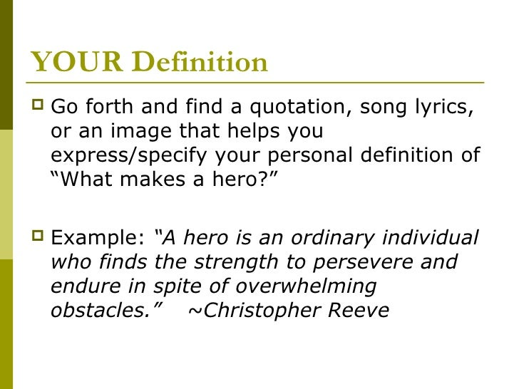 What defines a hero essay