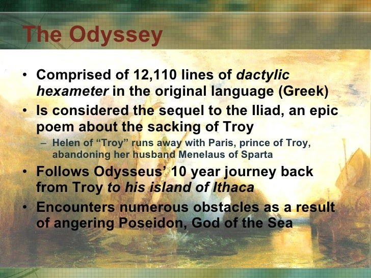 "epic similes in the odyssey So i've essentially answered this question elsewhere (in a q about figurative language in the odyssey), but i'll add some more examples to the ones i typed for the other question, too: &gt ""as when an octopus is dragged out of its lair and the pebb."