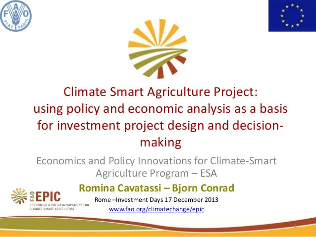 Climate Smart Agriculture Project: using policy and economic analysis as a basis for investment project design and decision making