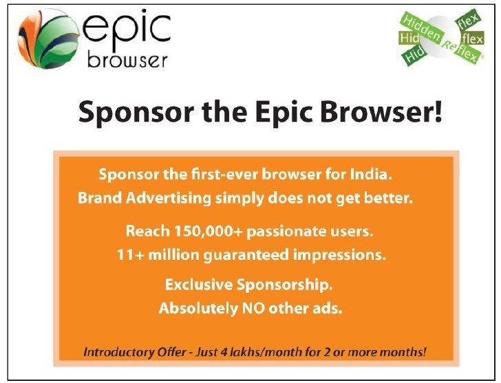 Epic  sponsorship The first web browser for India