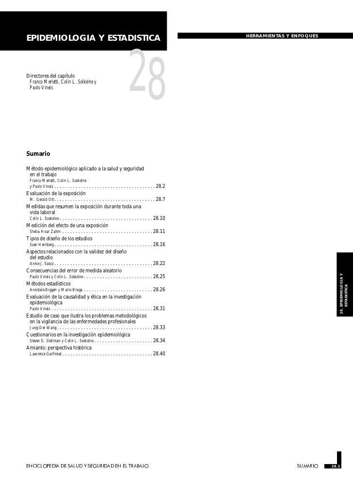 HERRAMIENTAS Y ENFOQUESEPIDEMIOLOGIA Y ESTADISTICADirectores del capítulo Franco Merletti, Colin L. Solkolne y Paolo Vinei...