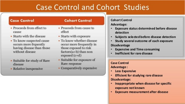 advantages and disadvantages of cohort and case control studies Cohort and case-controls studies  overview what is a cohort study types of cohort studies advantages / disadvantages  case-control studies advantages.