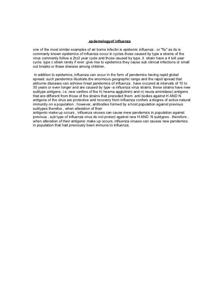 Epidemology Of Influenza