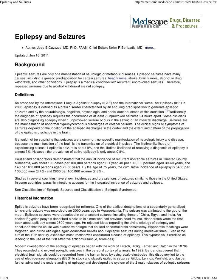 Epilepsy and Seizures, e-Medicine Article
