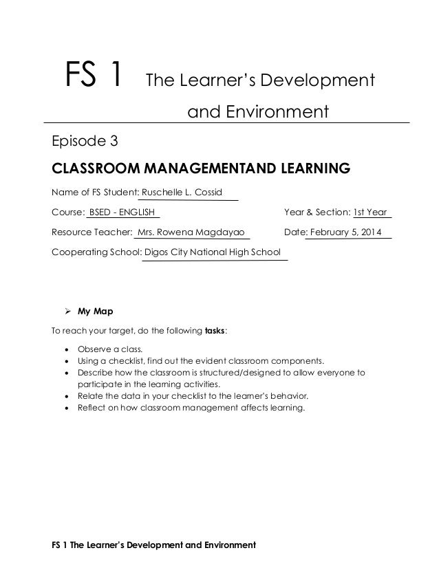 FS 1 The Learner's Development and EnvironmentFS 1 The Learner's ...