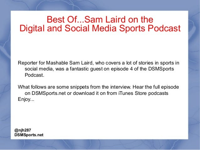 Sam Laird of Mashable on the Digital and Social Media Sports Podcast, episode 4