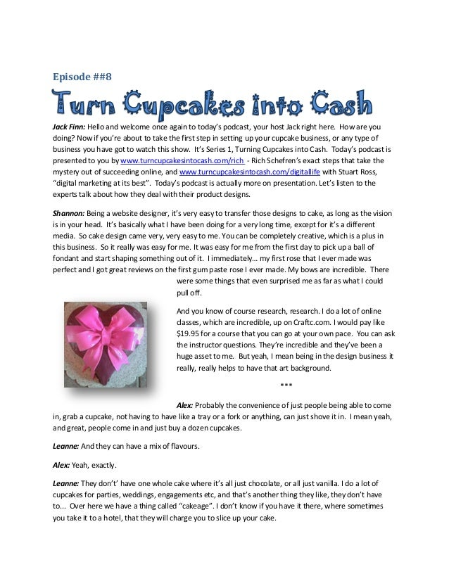 Episode 8 Turn Cupcakes into Cash, product design