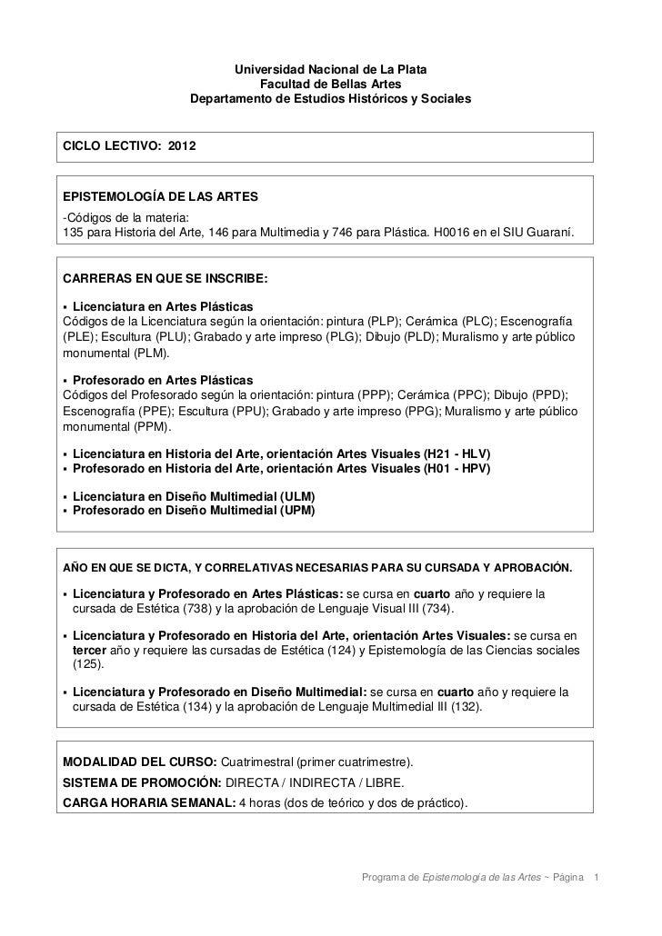 Universidad Nacional de La Plata                                    Facultad de Bellas Artes                         Depar...
