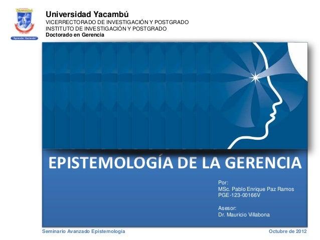 Universidad Yacambú VICERRECTORADO DE INVESTIGACIÓN Y POSTGRADO INSTITUTO DE INVESTIGACIÓN Y POSTGRADO Doctorado en Gerenc...