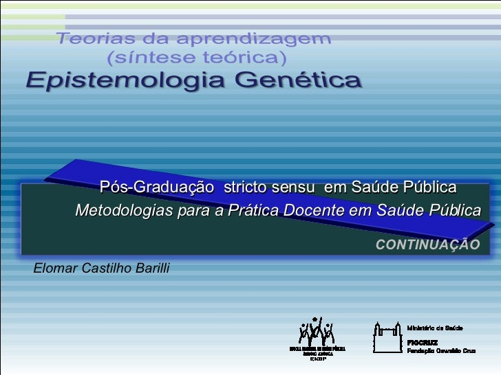 CONTINUAÇÃO Elomar Castilho Barilli Pós-Graduação  stricto sensu  em Saúde Pública Metodologias para a Prática Docente em ...