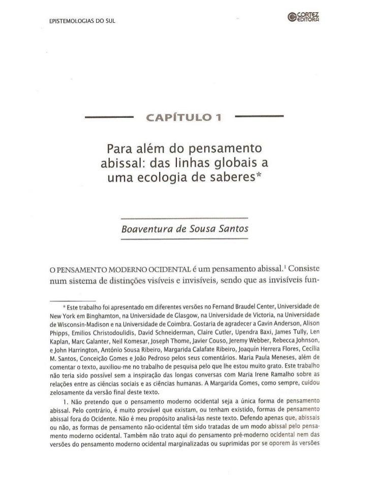 Epistemologias do sul - cap 1