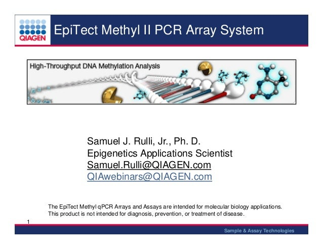 EpiTect Methyl II PCR Array System  Samuel J. Rulli, Jr., Ph. D. Epigenetics Applications Scientist Samuel.Rulli@QIAGEN.co...
