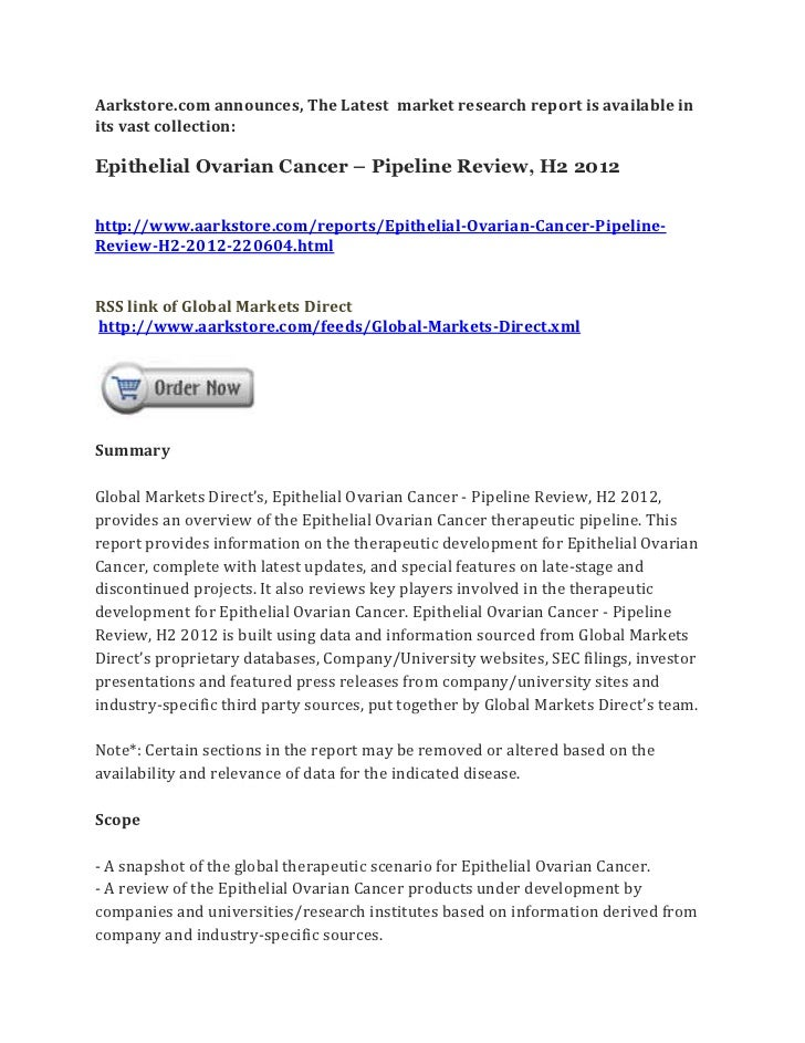 Epithelial ovarian cancer – pipeline review, h2 2012