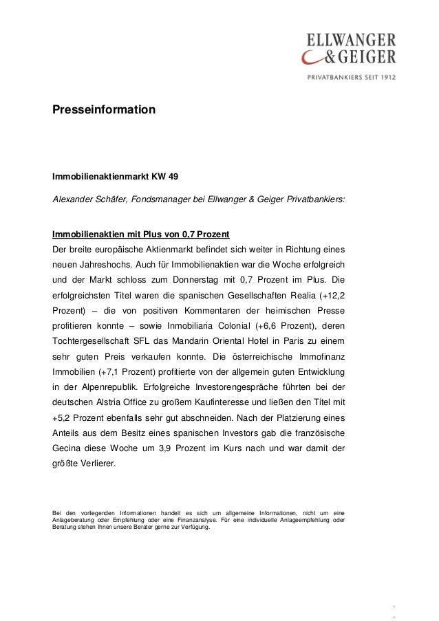 PresseinformationImmobilienaktienmarkt KW 49Alexander Schäfer, Fondsmanager bei Ellwanger & Geiger Privatbankiers:Immobili...