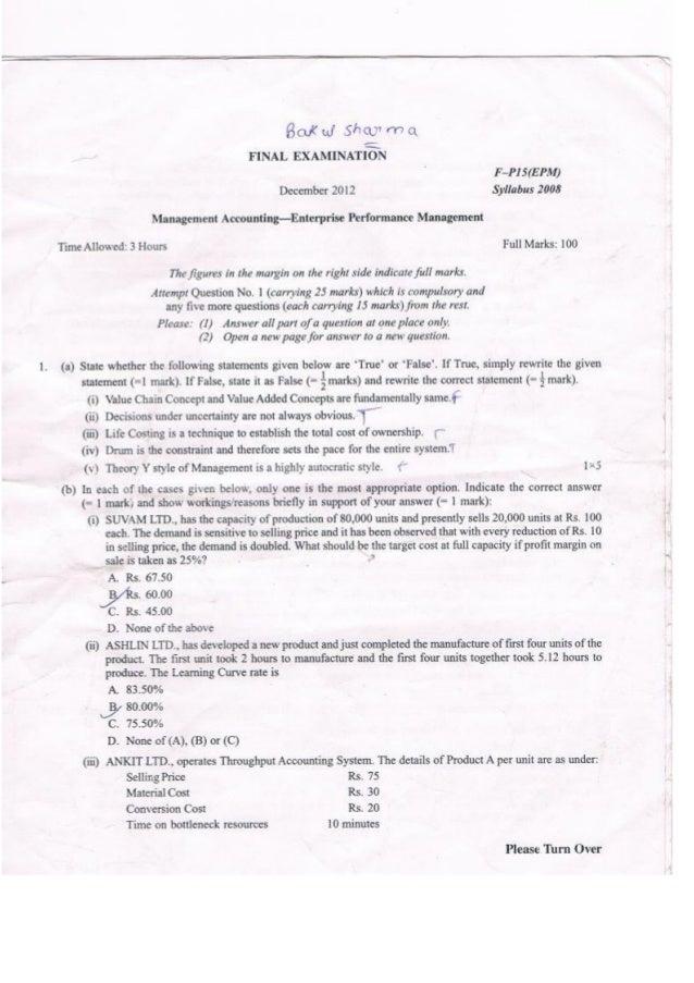 CWA Final EPM - Question Paper - Dec12