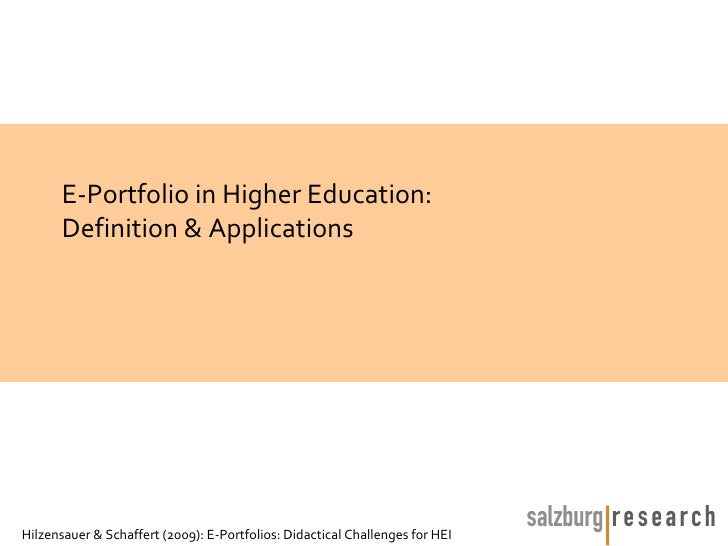 E-Portfolios: Didactical Challenges               for Higher Education               July 2nd, 2009               A Worksh...