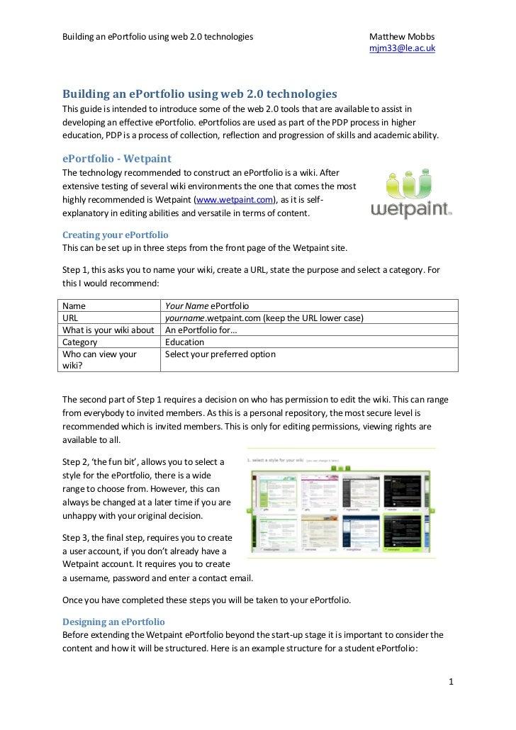 Building an ePortfolio using web 2.0 technologies                                 Matthew Mobbs                           ...